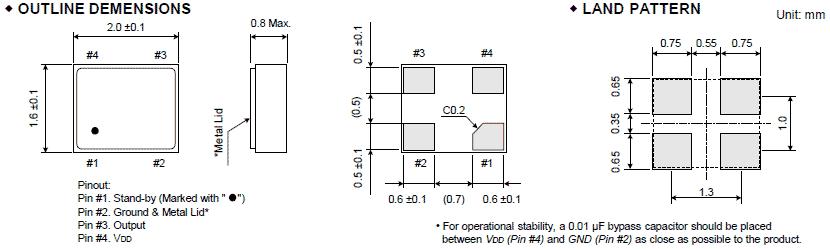 fcxo-06t晶振,进口有源晶振,2016晶体振荡器