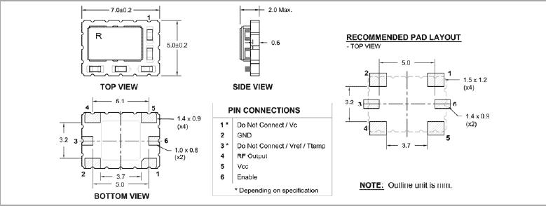 瑞康晶振,有源晶振,rpt7050p晶振