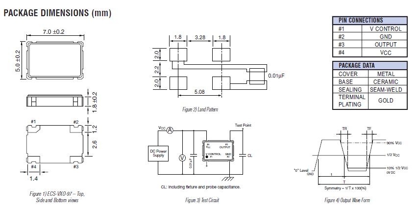 进口vcxo振荡器,ecs-vx0-97晶振,7050mm压控晶振
