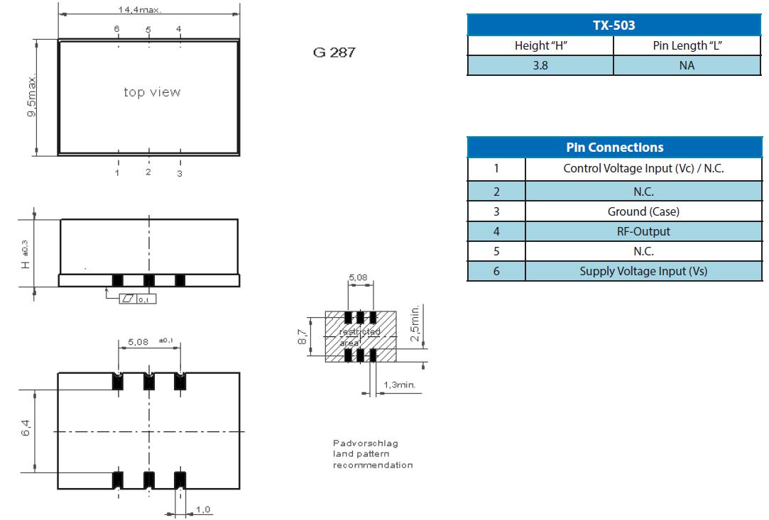 陶瓷面温补晶体振荡器,六脚有源晶振,tx-503晶振